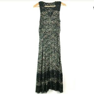 Ranna Gill XS Floral Black Lace Maxi Dress Flowy